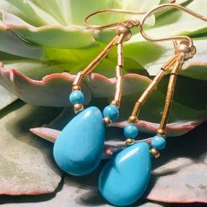 NWT, Peyote Bird Turquoise/Seed Bead Boho Earrings